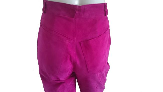 Lanna Suede Suede Jeans High Waist Jeans 80s Jeans High Waisted Jeans Jeans Suede Suede Trousers Skinny Pants Pink Image 3