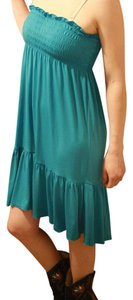 Candie's short dress Teal Polyester Spandex on Tradesy