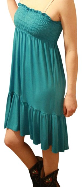 Candie's short dress Teal Polyester Spandex Empire Waist Sleeveless Color-blocking on Tradesy