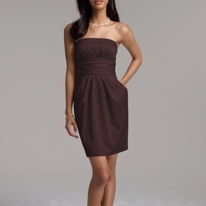 """David's Bridal Brown #39261 """"Short Strapless Cotton Sateen"""" Bridesmaid/Mob Dress Size Other"""