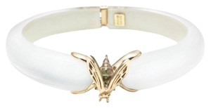 Alexis Bittar Alexis Bittar White Lucite And Gold Bee Hinged Bracelet New With Tags
