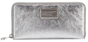 Marc by Marc Jacobs Marc By Marc Jacobs Metallic Silver Continental Zip Wallet New With Tags