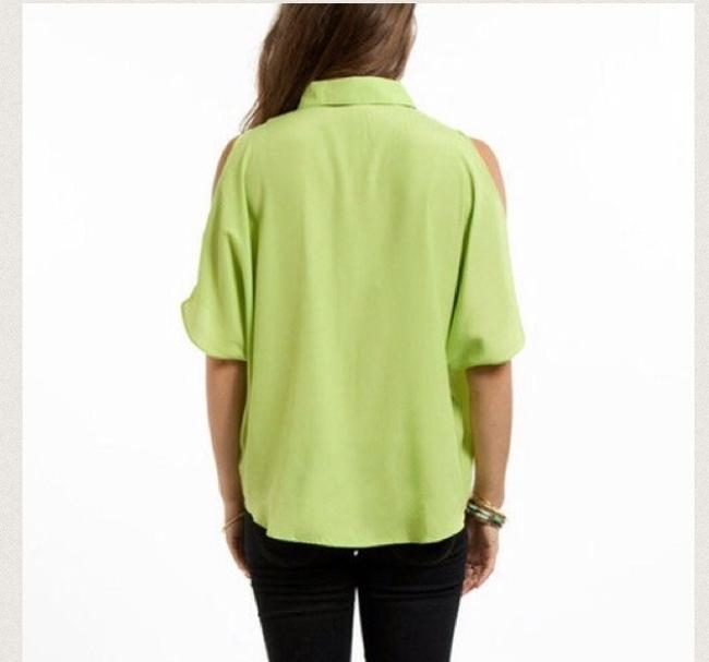 Tobi Designer Cold Shoulder Hi Lo Button Down Chic Trendy Top Green