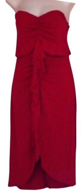 Item - Red New Classic Strapless Ruffle Cocktail Dress Size 6 (S)