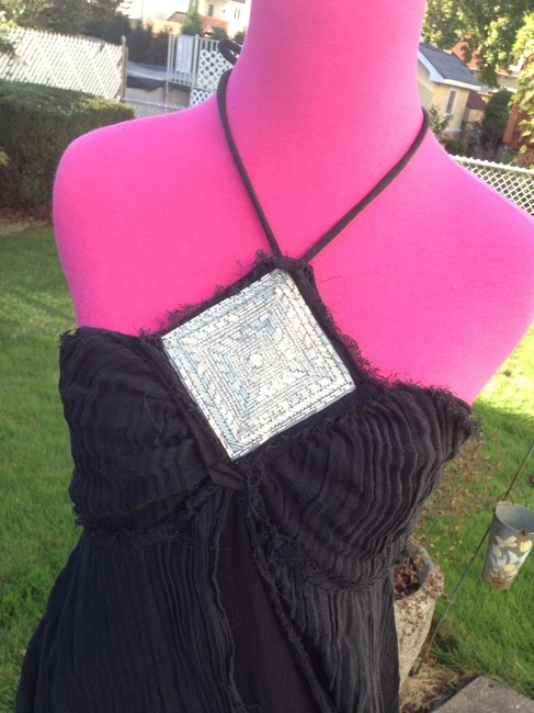 Other Designer Raw Edge Chic Beaded Fly Away Halter Cotton Unique Pretty Girls Night Date Night Weekend Zip Silver Tunic Image 1