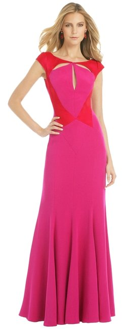 Item - Fuschia and Red Colorblock Amaranth Lotus Gown Long Formal Dress Size 6 (S)