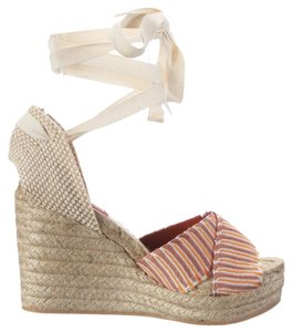 Missoni Espadrille Wedge Leather Ankle Wrap Orange/Taupe/Ivory Multi Platforms