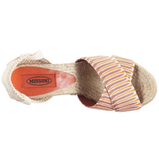 Missoni Espadrille Wedge Leather Ankle Wrap Orange/Taupe/Ivory Multi Platforms Image 1
