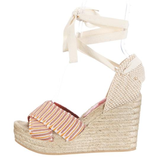 Missoni Espadrille Wedge Leather Ankle Wrap Orange/Taupe/Ivory Multi Platforms Image 2