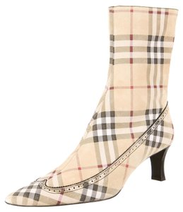 Burberry Tan Multicolor Suede Leather Square Toe Nova Check Nova Check Print Monogram Plaid Logo Ankle New 41 11 Beige, Black, Red Boots