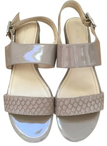 Calvin Klein Wedge Cork Ankle Buckle Animal Print Strap LIGTH TAUPE Platforms