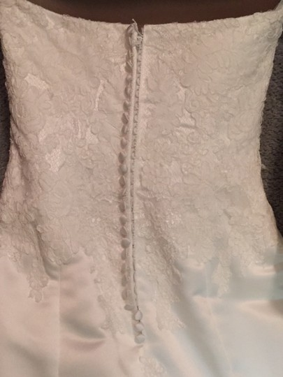 Anjolique Ivory Satin Feminine Wedding Dress Size 4 (S)