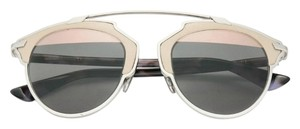 Dior So Real 48mm Leather-Trim Mirrored Sunglasses Pale Beige Havana/Grey Rose Gold