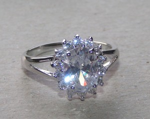 1ct White Topaz Engagement Ring Free Shipping