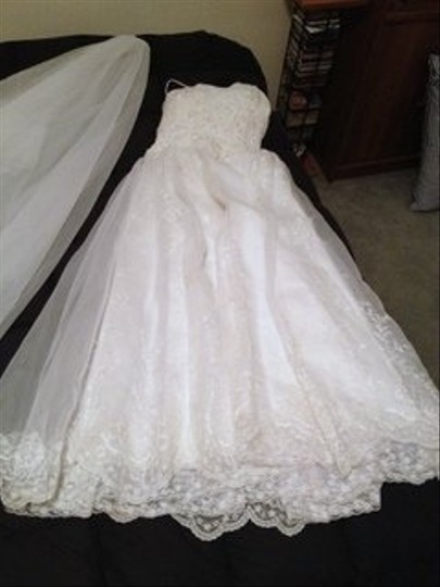 White Organza Ny Fashion Square Vintage Wedding Dress Size 8 (M)