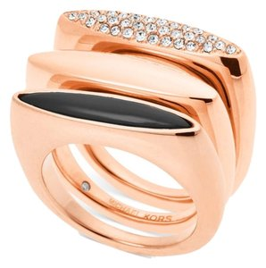 Michael Kors Michael Kors MKJ4514 791 Pave Rose Gold-tone Stackable Ring Size 6