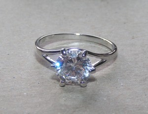 Simple White Topaz Engagement Ring Free Shipping