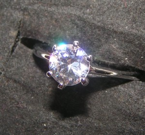 1/3ct Round White Topaz Solitaire Ring Free Shipping