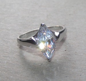 Marquis Solitaire White Sapphire Ring Free Shipping