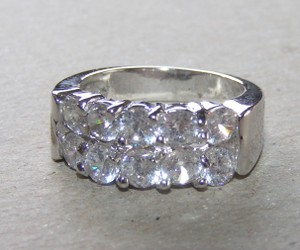 2 Row White Topaz Wedding Band Free Shipping