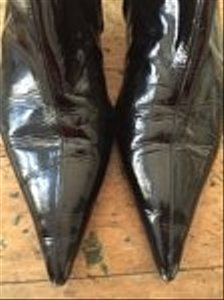 Barneys New York Black Patent Leather Boots