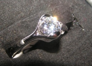 White Topaz Solitaire Promise Ring Free Shipping