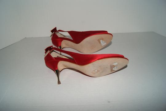 Ivanka Trump Satin Golden Hardware Leather Sole Red Pumps