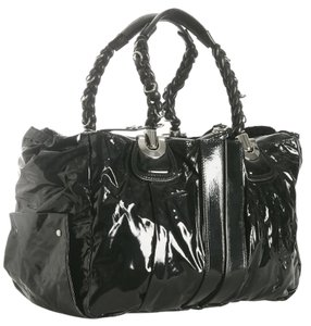 Chloé Vinyl Leather Chloe Lambskin Braided Silver Hardware Tote in Black