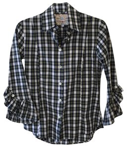 Bell Pleated Arm Plaid Stylish Unique Button Down Shirt Multi