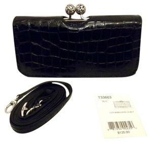 Brighton Brighton City Kiss Lock Lg Wallet Crossbody Black Croc Leather T33663