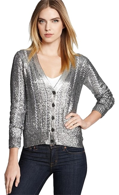Item - With Tags Attached Covered Size Small. Retail Metallic Cardigan Slate Grey Silver Sweater