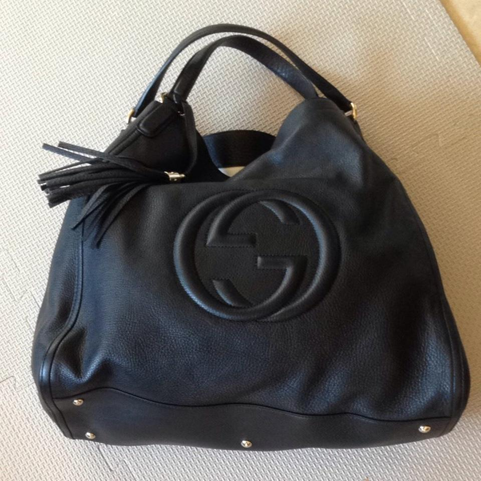 6f68202f6ce7 Gucci Leather A-shape Soho Large New Tote in Black Image 7. 12345678