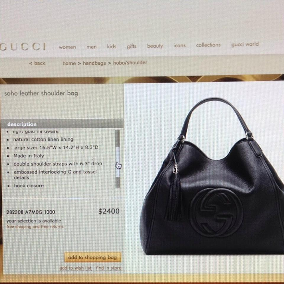 86ca09a8b Gucci Leather A-shape Soho Large New Tote in Black. 12345678