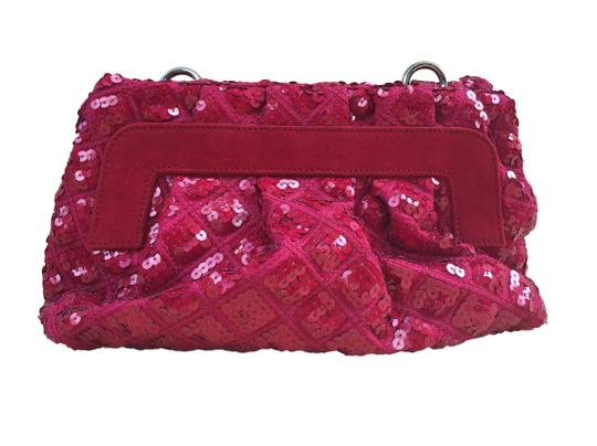 Marc Jacobs Sequins Sequined Leather Quilt Oxblood Clutch Convertible Removable Strap Gold Silver Glitter Holiday Cross Body Bag Image 1
