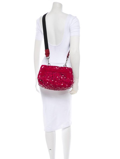 Marc Jacobs Sequins Sequined Leather Quilt Oxblood Clutch Convertible Removable Strap Gold Silver Glitter Holiday Cross Body Bag Image 5