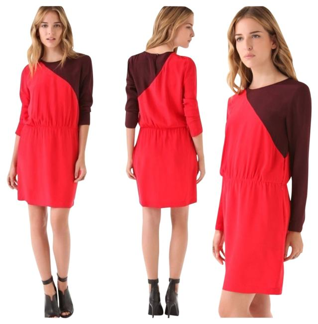 Preload https://item1.tradesy.com/images/redburgundy-colorblock-cdc-above-knee-workoffice-dress-size-6-s-846265-0-0.jpg?width=400&height=650