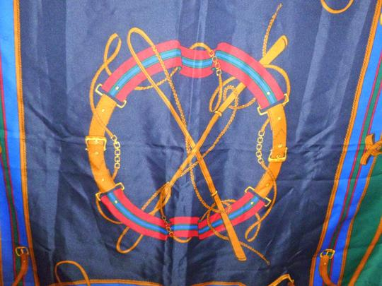 Other Equestrian Printed Scarf Classic Design Blue, Red, Brown, & Black Coloring