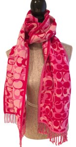 Coach Coach Pink Signature Reversible Wool/Cashmere Scarf/Wrap