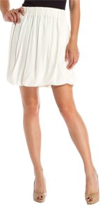 Chlo Chloe Bubble Silk Pleated Elastic Skirt white/cream