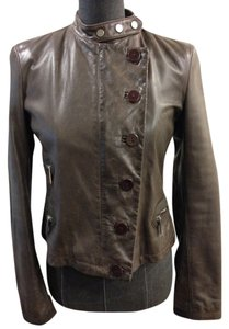 Emporio Armani Leather Size 6 Brown Leather Jacket
