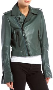 Balenciaga Leather Dark Teal Green Leather Jacket