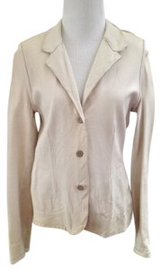 Blur Beige Leather Longsleeve Italy European Chic Ivory-lime Gree Soft Cream Leather Jacket