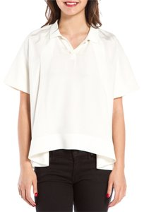 3.1 Phillip Lim Oversized Collar Short Sleeve Top cream