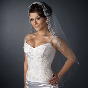 Elegance By Carbonneau Beaded White Fingertip Wedding Veil With Floral Embroidery