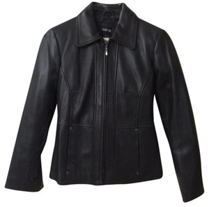 Style & Co Blk Leather Jacket