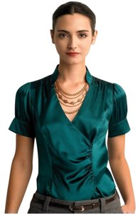 Banana Republic V-neck Silk Top Green