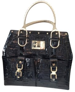 Versace Studded Tote in Patent Leather Black