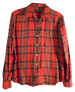 Liz Claiborne Button Down Shirt red plaid