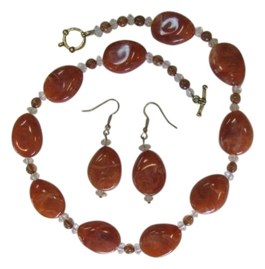 Preload https://item3.tradesy.com/images/dark-coral-new-set-pear-shaped-beads-necklace-846987-0-0.jpg?width=440&height=440