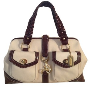 Coach Rare Vintage Limited Edition Satchel in Natural Canvas/Chocolate